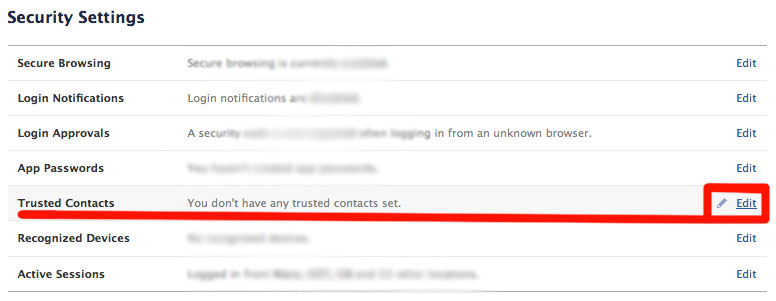 """Facebook trusted contacts"""